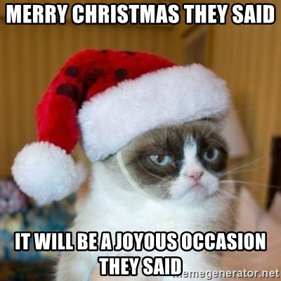 Grumpy Cat Santa Hat - Merry christmas they said it will be a joyous OCCASION they said