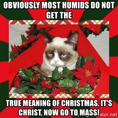 GRUMPY CAT ON CHRISTMAS - Obviously most humids do not get the true meaning of christmas. It's christ, now go to mass!
