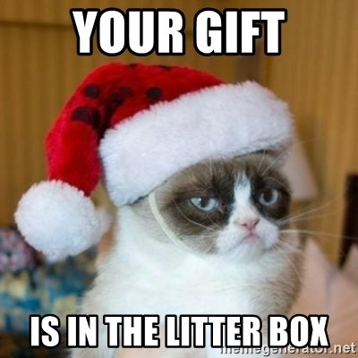 Grumpy Cat Santa Hat - Your gift is in the litter box