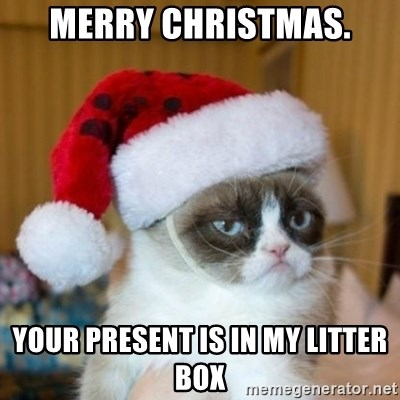 Grumpy Cat Santa Hat - merry christmas. your present is in my litter box