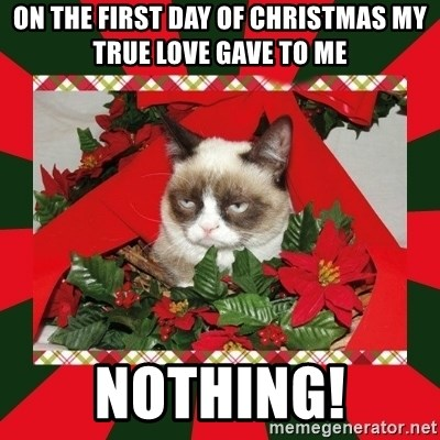 GRUMPY CAT ON CHRISTMAS - on the first day of christmas my true Love gave to me nothing!