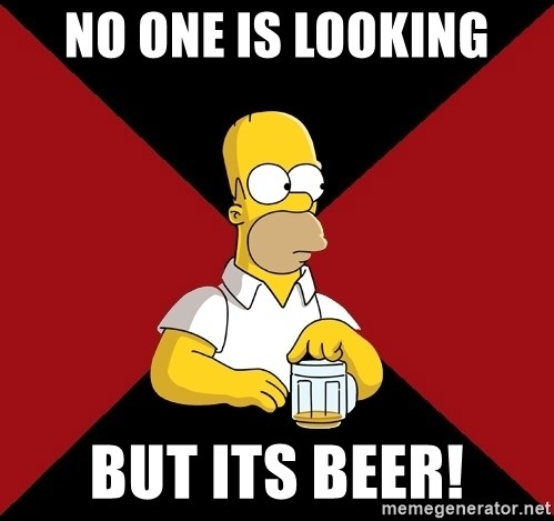 Homer Jay Simpson - no one is looking but its beer!