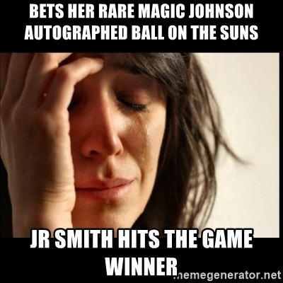 First World Problems - BETS HER RARE Magic Johnson AUTOGRAPHED BALL ON THE SUNS  JR SMITH HITS THE GAME WINNER