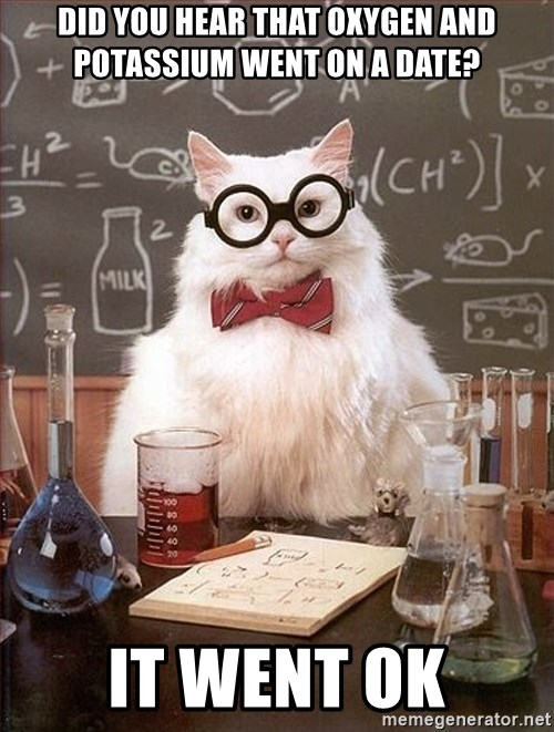 Science Cat - Did you hear that Oxygen and Potassium went on a Date? It Went OK