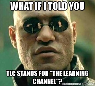 """What if I told you / Matrix Morpheus - what if i told you tlc stands for """"the learning channel""""?"""