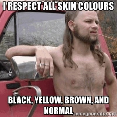 Almost Politically Correct Redneck - I RESPECT ALL skin colours black, yellow, brown, and normal