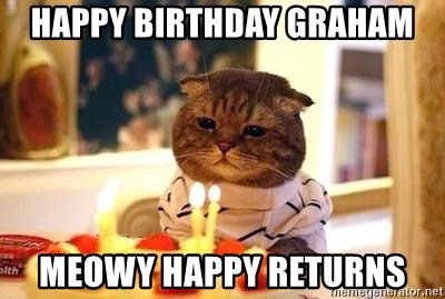 Birthday Cat - happy birthday graham meowy happy returns