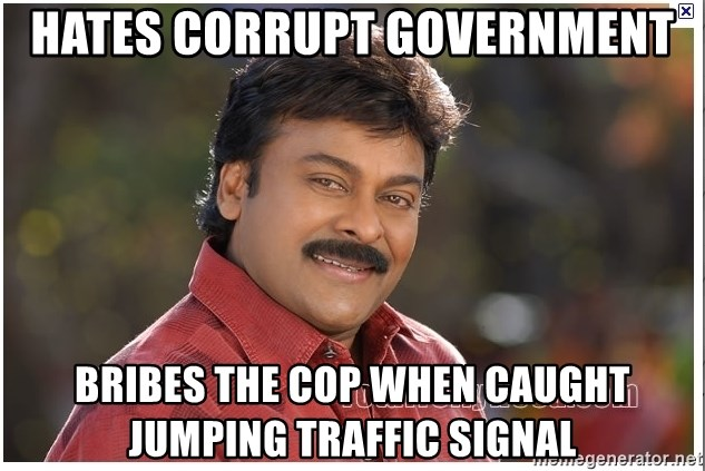 Typical Indian guy - HATES CORRUPT GOVERNMENT BRIBES THE COP WHEN CAUGHT JUMPING TRAFFIC SIGNAL