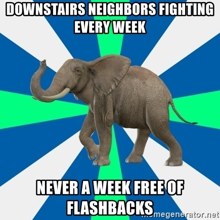 PTSD Elephant - downstairs neighbors fighting every week never a week free of flashbacks