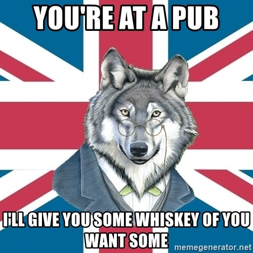 Sir Courage Wolf Esquire - YOU'RE AT A PUB  I'LL GIVE YOU SOME WHISKEY OF YOU WANT SOME