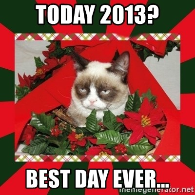 GRUMPY CAT ON CHRISTMAS - tODAY 2013? bEST DAY EVER...
