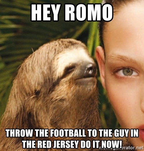 The Rape Sloth - hey romo THROW THE FOOTBALL TO THE GUY IN THE RED JERSEY DO IT NOW!