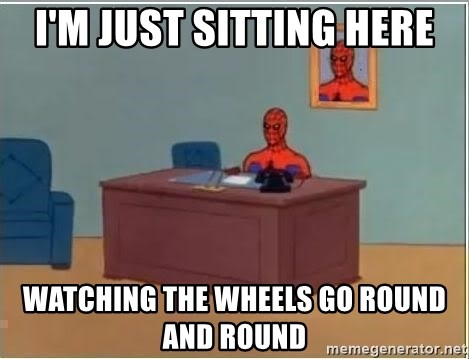 Spiderman Desk - i'm just sitting here watching the wheels go round and round