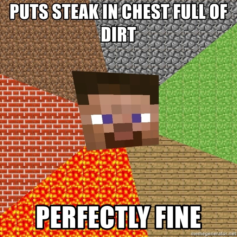 Minecraft Guy - puts steak in chest full of dirt perfectly fine