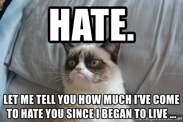 Grumpy cat good - Hate. LET ME TELL YOU HOW MUCH I'VE COME TO HATE YOU SINCE I BEGAN TO live ...