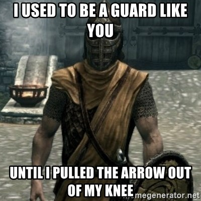 skyrim whiterun guard - i used to be a guard like you until i pulled the arrow out of my knee