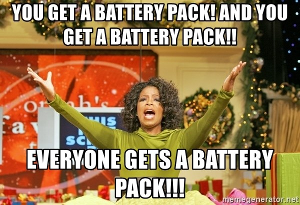 Oprah Gives Away Stuff - you get a battery pack! and you get a battery pack!! Everyone gets a battery pack!!!