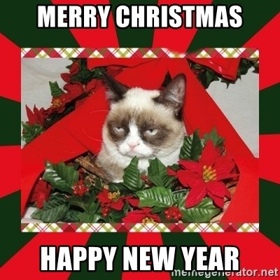GRUMPY CAT ON CHRISTMAS - merry christmas happy new year