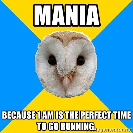 Bipolar Owl - Mania Because 1 am is the perfect time to go running.