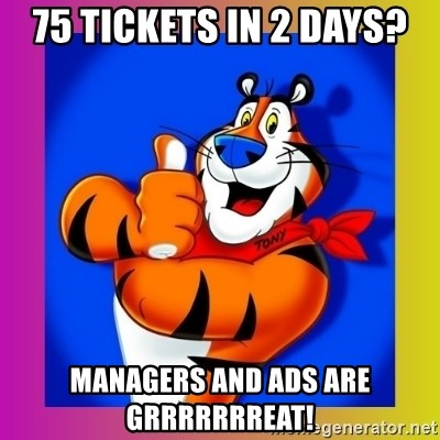 Tony The Tiger - 75 Tickets in 2 days? Managers and ADs are grrrrrrreat!