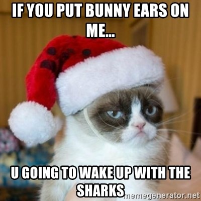 Grumpy Cat Santa Hat - IF YOU PUT BUNNY EARS ON ME... U GOING TO WAKE UP WITH THE SHARKS