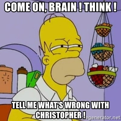 Simpsons' Homer - come on, brain ! Think ! tell me what's wrong with christopher !