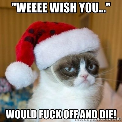 "Grumpy Cat Santa Hat - ""weeee wish you..."" would fuck off and die!"