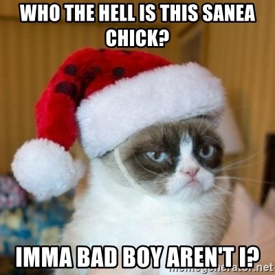 Grumpy Cat Santa Hat - Who the hell is this sanea chick? Imma bad boy aren't I?
