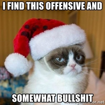 Grumpy Cat Santa Hat - I find this offensive and  Somewhat bullshit