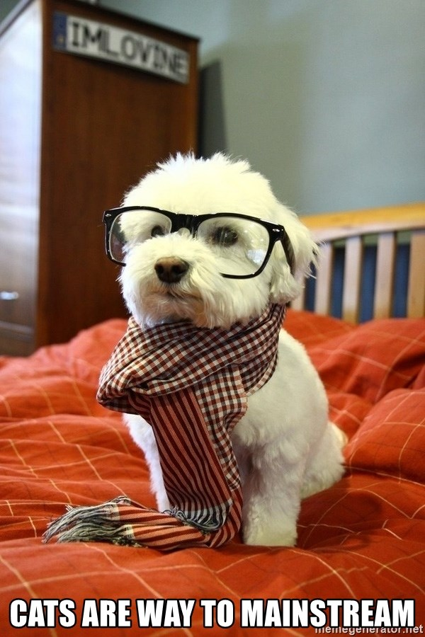 hipster dog - Cats are way to mainstream