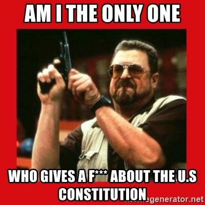 Angry Walter With Gun - Am I the only one Who gIves a f*** about the U.S constitution