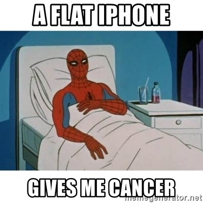 SpiderMan Cancer - a flat iphone gives me cancer