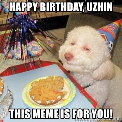 Birthday dog - Happy BIRTHDAY, UZHIN This meme is for you!