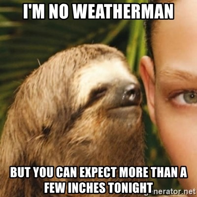 Whispering sloth - I'm no wEAtherman But you can expect more than a few inches tonight