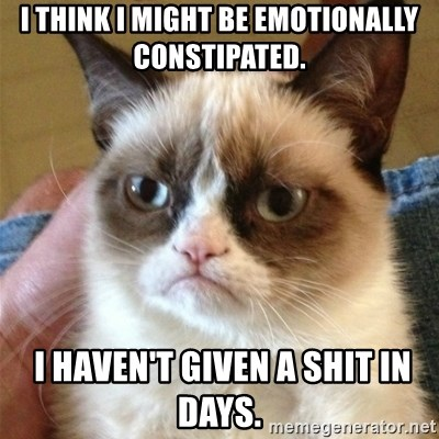 Grumpy Cat  - I think I might be emotionally constipated.  I haven't given a shit in days.