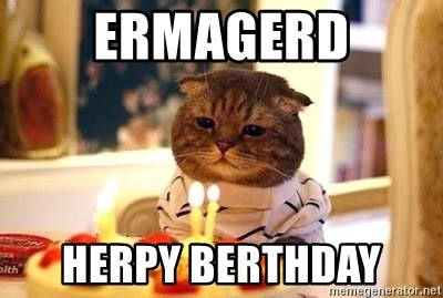 Birthday Cat - Ermagerd herpy berthday