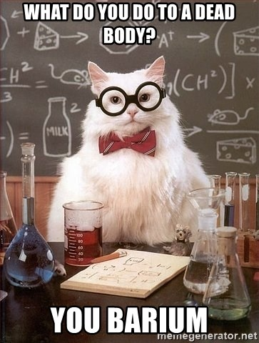 Chemistry Cat - what do you do to a dead body? you barium