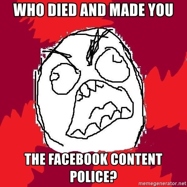 Rage FU - Who Died and made you The facebook content police?
