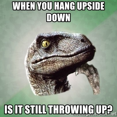 Philosoraptor - when you hang upside down    is it still throwing up?