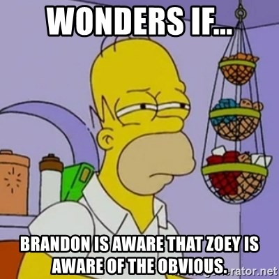 Simpsons' Homer - wonders if... brandon is aware that zoey is aware of the obvious.