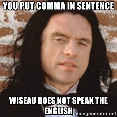 Disgusted Tommy Wiseau - you put comma in sentence wiseau does not speak the english