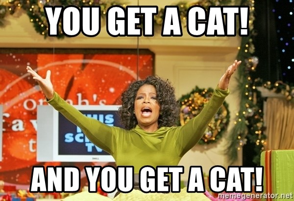Oprah Gives Away Stuff - You get a cat! And you get a cat!