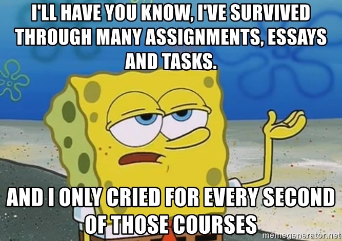 I'll have you know Spongebob - I'll have you know, I've survived THROUGH many ASSIGNMENTS, essays and tasks. and I only cried for every second of those courses