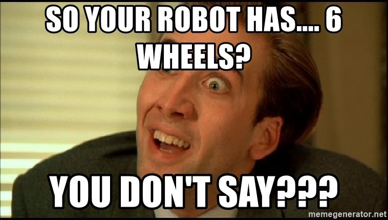 You Don't Say Nicholas Cage - So your robot has.... 6 wheels? You don't say???