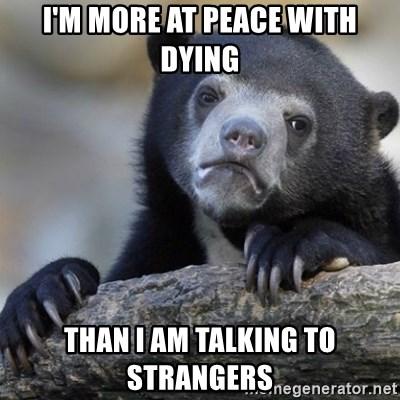 Confession Bear - I'm more at peace with dying than I am talking to strangers