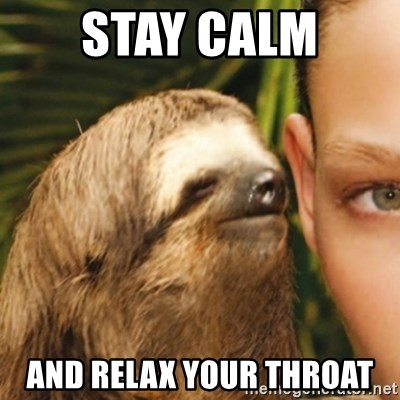 Whispering sloth - Stay calm  and relax your throat