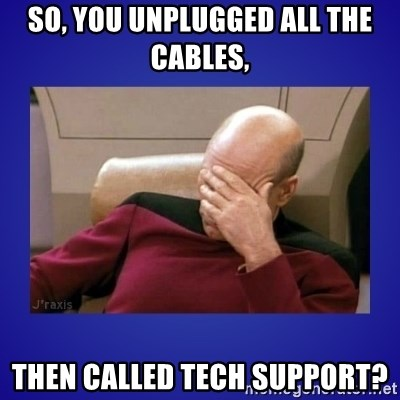 Picard facepalm  - So, you unplugged all the cables, Then called tech support?