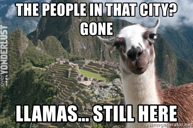 Bossy the Llama - THe people in that city? Gone Llamas... still here