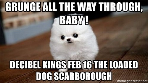 more meat for my duck - GRUNGE ALL THE WAY THROUGH, BABY ! DECIBEL KINGS FEB 16 THE LOADED DOG SCARBOROUGH