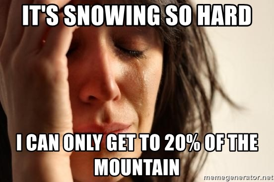 First World Problems - It's snowing so hard I can only get to 20% of the mountain